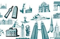 Most Famous Landmarks in the World Vector Silhouettes