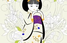 Vector Japanese Kimono Doll