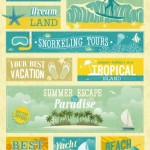 Vintage Hawaii Tours Labels and Banner Vector