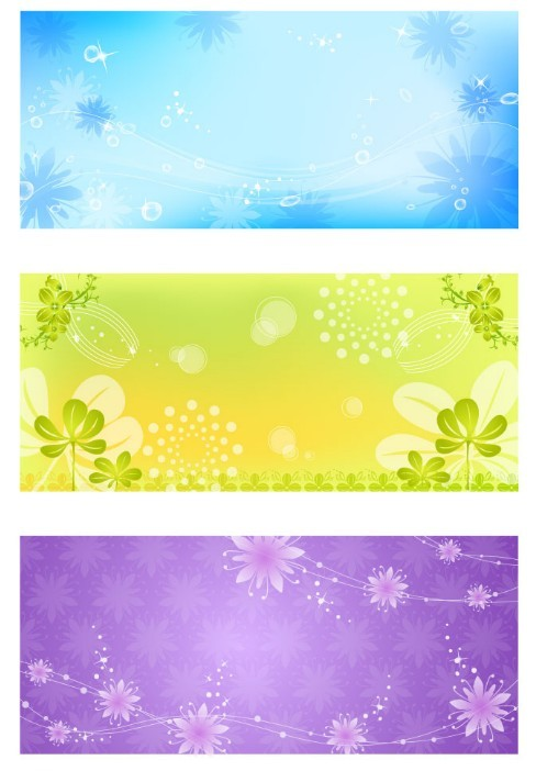 Of 8 colorful floral backgrounds for vertical or horizontal banners