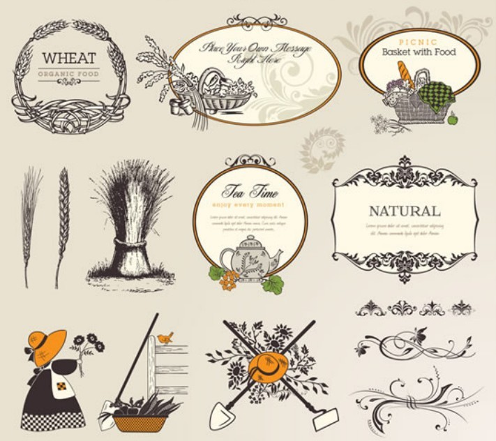 Natural Food Logo Vintage Vector Nature Amp Food