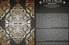 Vintage Golden Floral Pattern Vector Background 02