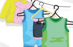 Cute Children's Clothing On hangers Vector 02