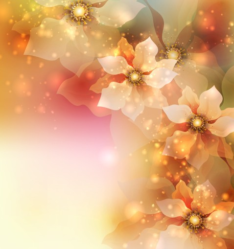 free elegant card background with sparkling flowers 05