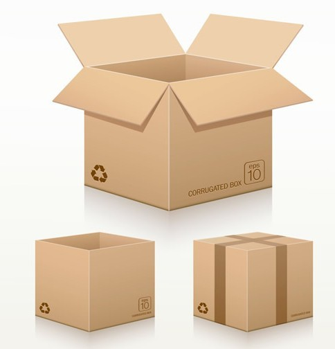 Free vector recycled corrugated cardboard box templates 01 for Box templates vector