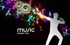 Fashion and Colorful Vector Music Background 03