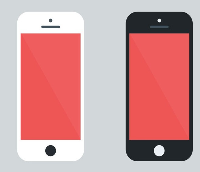 Free Flat Style White and Black iPhone 5 PSD Mockup - TitanUI