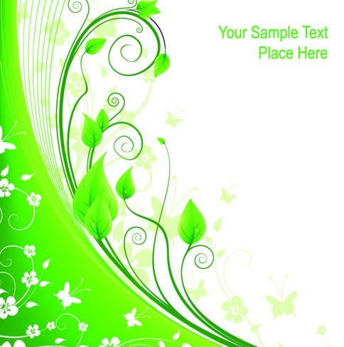 Free Fresh Green Floral Background Vector 01 - TitanUI