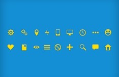 18 Mini Glyph Icons PSD