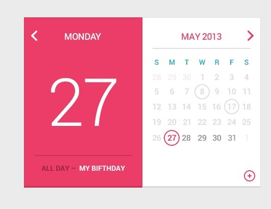 Calendar Ui Design Psd : Free pink and white flat calendar widget psd titanui