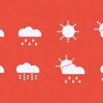 8 Simple Flat Weather Icons PSD