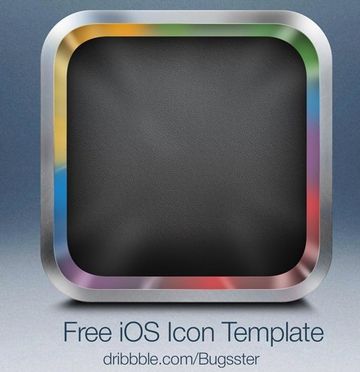 High quality Sleek Blank iOS App Icon with Metal Border template in ...
