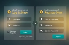 Glassy & Transparent Login & Register Forms PSD