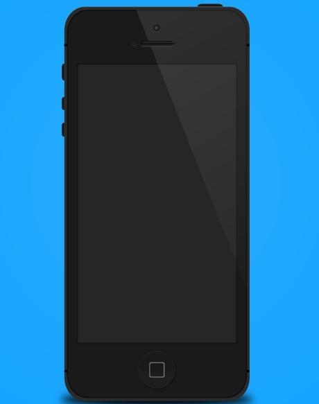 Free Flat Style Black iPhone 5 Mockup Template PSD - TitanUI