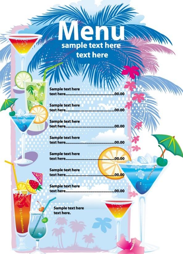 free vector summer drinks menu