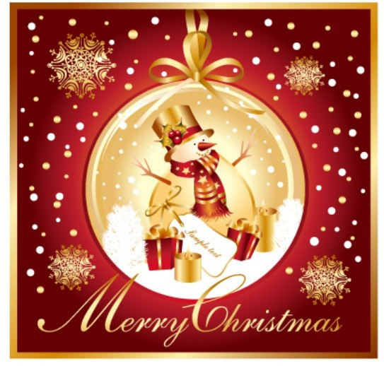 free golden merry christmas card template vector