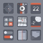 Flat Grey App Icon Set PSD