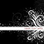 Black and White Vintage Floral & Flower Decorative Pattern 02 Vector