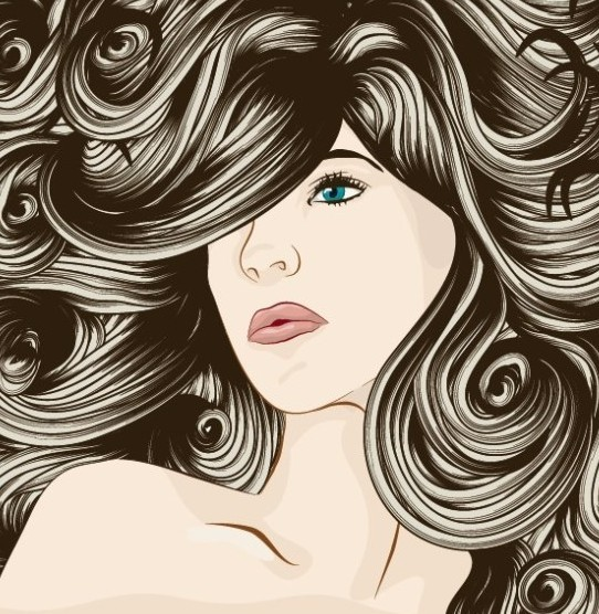 Free Creative Woman Hair Design Vector Illustration 01 ...