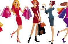 Shopping Girls Vector Illustration 01