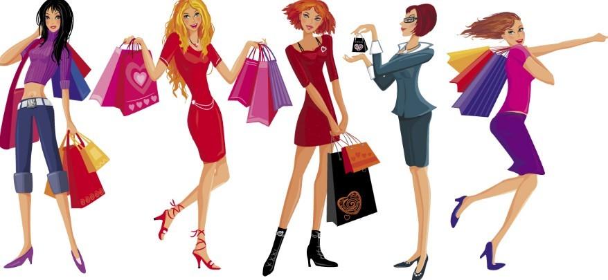free shopping girls vector illustration 01   titanui