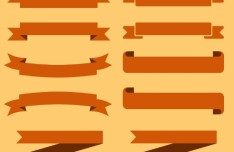 Set Of Brown Ribbons PSD Vector
