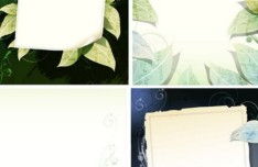 Clean Green Leaf Text Backgrounds Vector