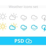 Cute Weather Icons Set PSD