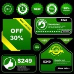 Set of Green Price Labels & Badges Vector