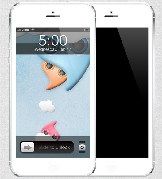 Free high quality white iphone 5 template psd titanui for Iphone 5 sticker template