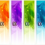 Set Of Clean Banner Templates with Colorful Leaf Backgrounds Vector 01