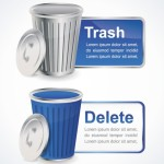 Stylish Vector Delete and Trash Buttons and Labels