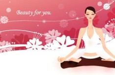Yoga Girls with Fresh Floral Background Illustration Vector 01