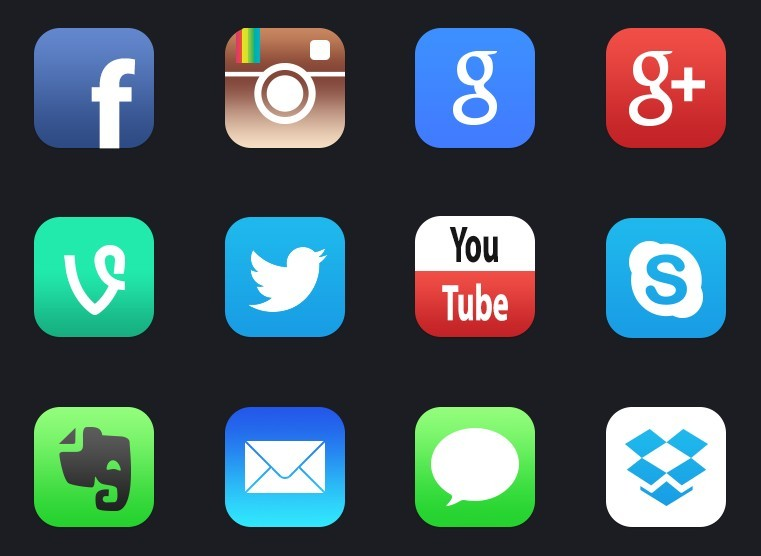 Free 12+ New iOS 7 Style Social Media APP Icons - TitanUI