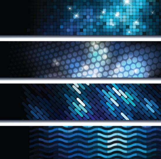 Free Set Of Bright Blue Abstract HI-Tech Banners Vector