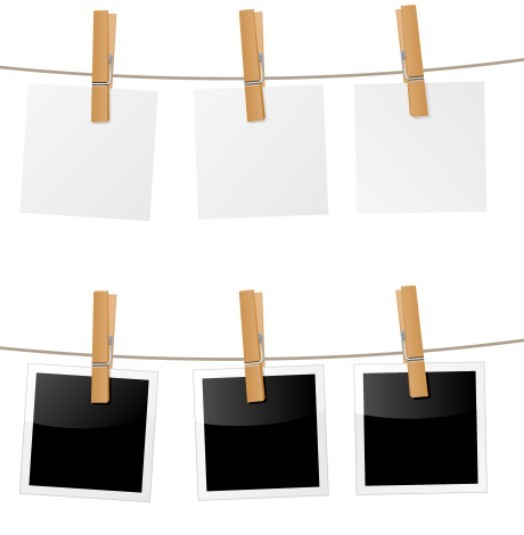 Free blank polaroid photos vector titanui for Picture hanging template kit