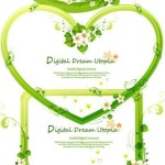 Green Floral Heart Frames & Borders Vector