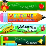 Set Of Vector Green Back To School Banners