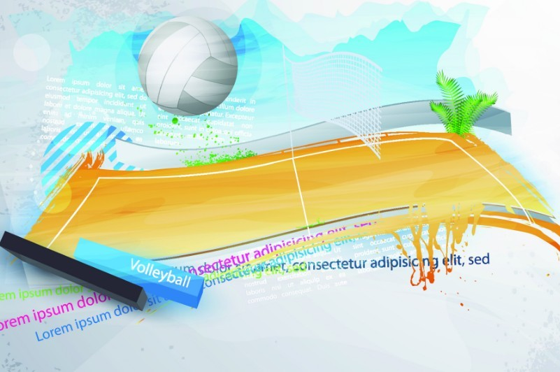 Abstract Design Of A Beach Volleyball Player Vector Image: Free Elegant Abstract Volleyball Court Background Vector