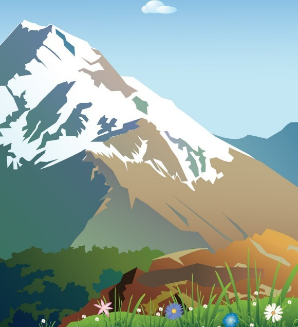 Free Forests And Snow Capped Mountains Illustration Vector