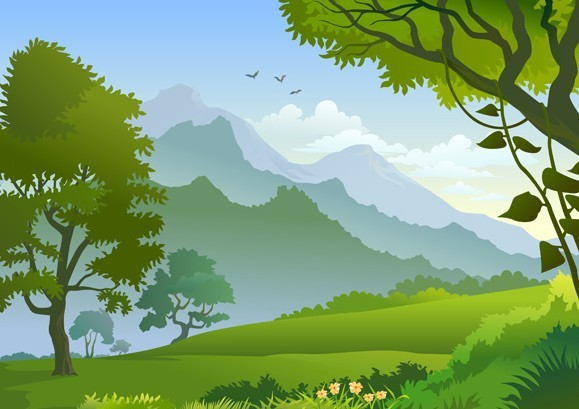 Free vector forest landscape illustration 01 titanui for Garden design graphics