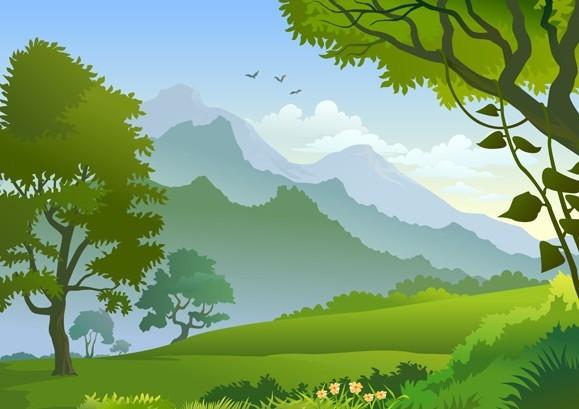 Landscape Illustration Vector Free: Free Vector Forest Landscape Illustration 01