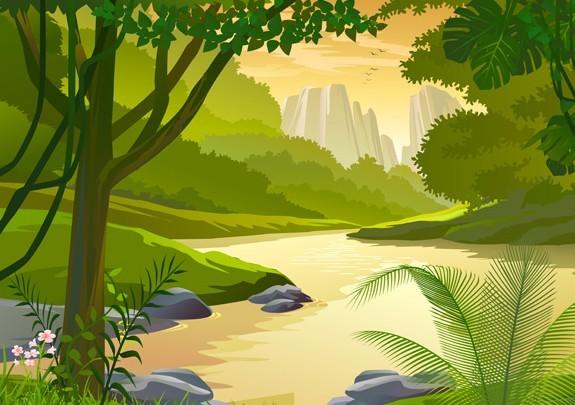Landscape Illustration Vector Free: Free Vector Forest Landscape Illustration 02