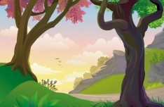 Vector Forest Landscape Illustration 04