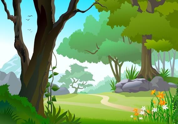 Landscape Illustration Vector Free: Free Vector Forest Landscape Illustration 05