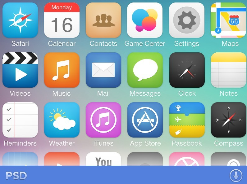 Free IOS 7 App Icons Pack