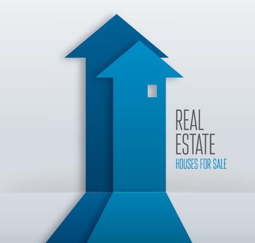 Free Creative Blue Real Estate Arrows Design Vector Titanui