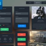 Flat Style Dark Web UI Kit PSD
