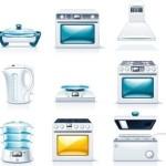 Set Of Vector Kitchen Appliances Icons 01