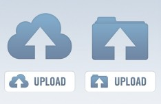 Clean Blue Upload Buttons PSD